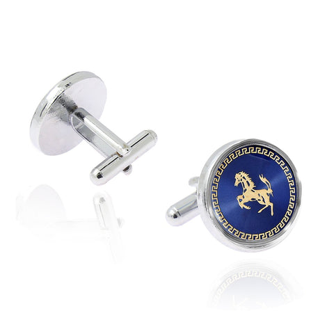Round Blue Gold Ferrari Horse Cufflinks In Box