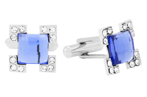 Black Blue Silver Clock Checks Combo Cufflinks