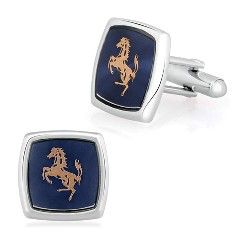 Square Blue Ferrari Horse Cufflinks In Box
