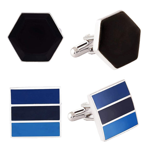 Blue Black Diamond Formal Combo Cufflinks for Men Branded Gift Box