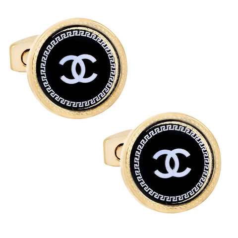Luxury Rose Gold Black Cufflinks In Box