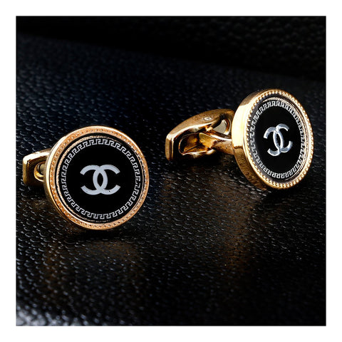 Luxury Rose Gold Black Formal Shirt Cufflinks for Men Branded Gift Box