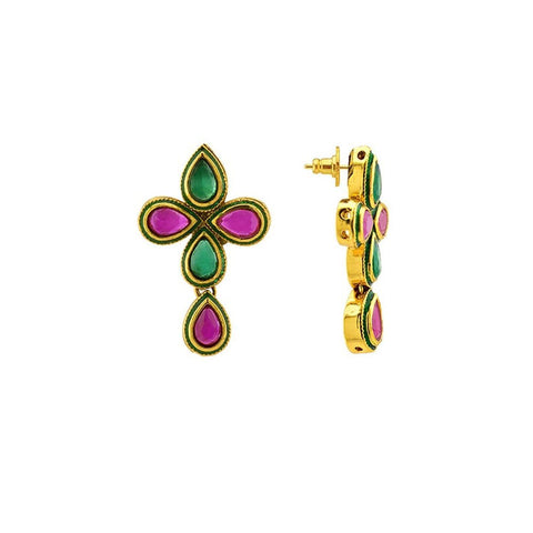 Gold Plated Ruby Red Emerald Green Earring For Women