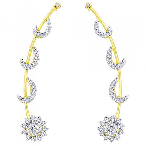18K Gold Plated American Diamond Ear Cuff Pair Earring For Women