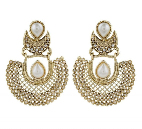 Gold Plated Pearl Multicolor Chaand Bali Earring Combo