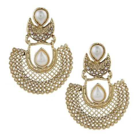 Gold Plated Pearl Chaand Bali Antique Traditional Earring For Women