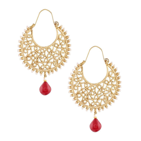 Gold Plated Filigree Pearl Ruby Red Chaand Bali Earring