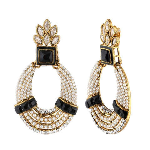 18K Gold Plated Pearl Cz Black Earring For Women