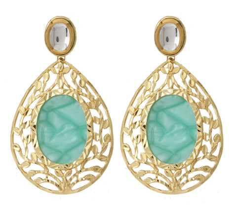 18K Gold Plated Sea Green Stone Kundan Dangling Earring For Women