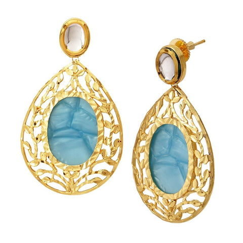 18K Gold Plated Sea Blue Stone Kundan Dangling Earring For Women