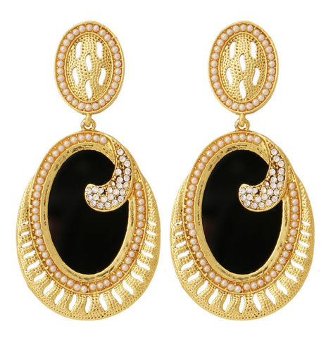 18K Gold Plated Black Stone Pearl Dangling Earring For Women