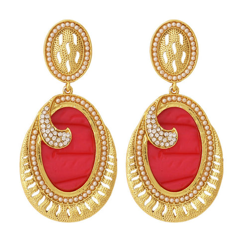 18K Gold Plated Red Stone Pearl Dangling Earring For Women