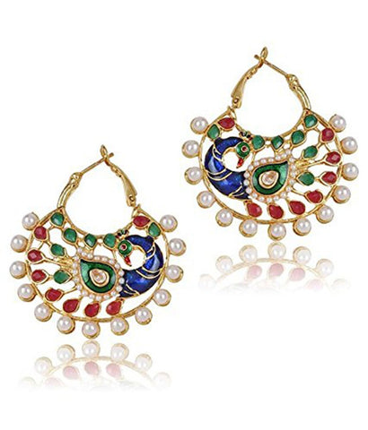 18K Gold Plated Peacock Meenakari Earring For Women