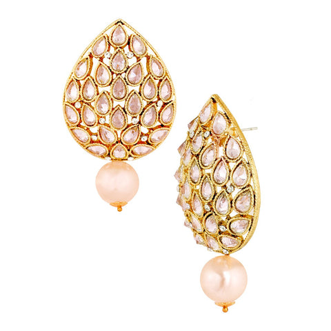 18K Antique Gold Plated Kundan Pearl Drop Large Earring For Women