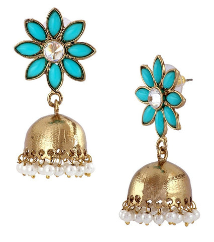 Cute Flower Gold Plated Turquoise Blue Pearl Jhumki Earring For Women