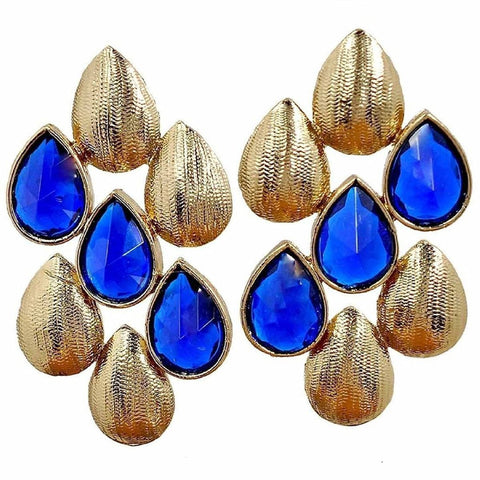 Dew Drop Antique Gold Plated Sapphire Blue Stud Earring For Women