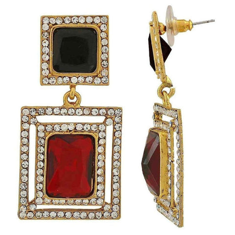 Maroon & Black Stone American Diamond Cocktail Square Earring