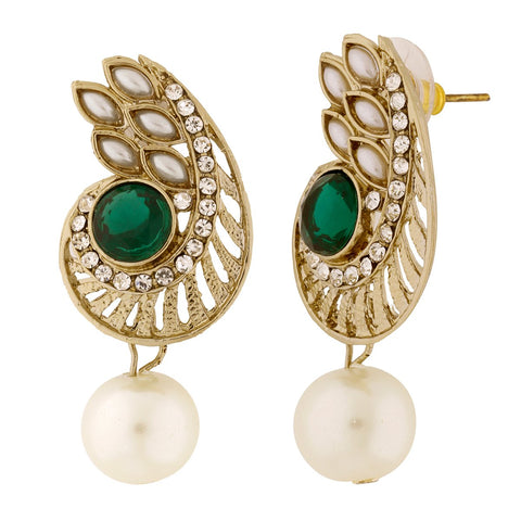 Paisley Filigree American Diamond Pearl Green Earring For Women