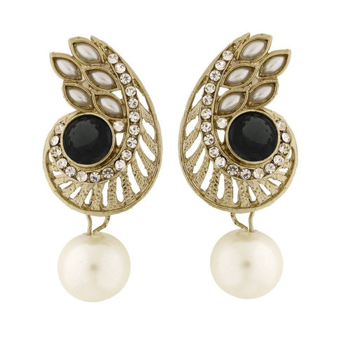 Paisley Filigree American Diamond Pearl Black Earring For Women