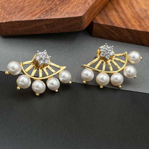 Flower Pearl American Diamond Cz Gold Dangling Earring For Women