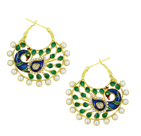 18K Gold Plated Peacock Green Meenakari Enamel Earring For Women