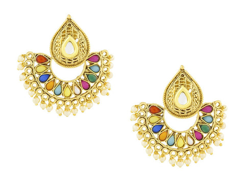 Filigree Kundan Multicolor Stone Pearl Gold Stud Dangle Earring