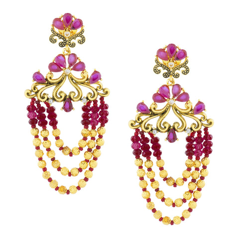 Design 18K Gold Pink Crystal Cubic Zirconia Beads Chandelier Earring