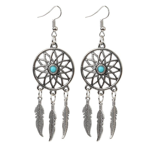 Dream Catcher Turquoise Oxidized German Silver Green Dangle Earring