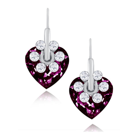 Flower Heart Crystal American Diamond Maroon Red Rhodium Stud Earring