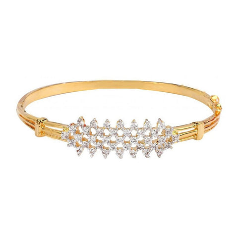 American Diamond Cz Cluster Slim Openable Kada Bangle Bracelet