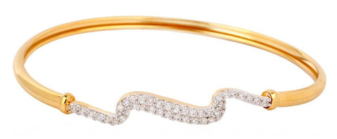 American Diamond Cz Zig Zag Eternity Openable Kada Bangle Bracelet