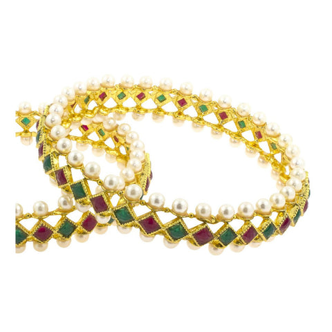 Maroon Green Gold Plated Kada Bangle Set Of 2 For Women