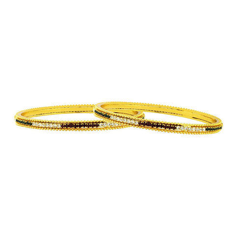 Eternity Red Green American Diamond Gold Bangle Set Of 2 (Pair) Women