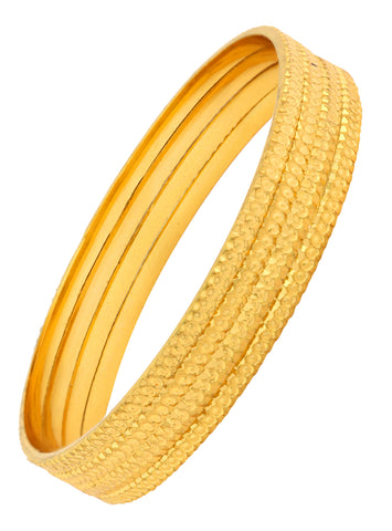 Nakshi Slim Gold Plated Kada Bangle Set Of 4 For Women