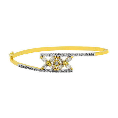 Marquise Flower Cz 18K Gold Openable Bangle Kada Bracelet Girls Women