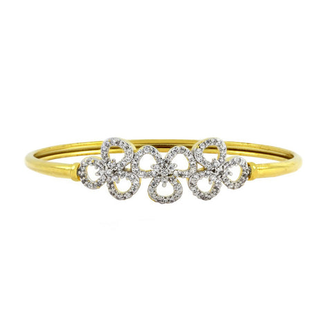 Four Flower Cz 18K Gold Openable Bangle Kada Bracelet Girls Women
