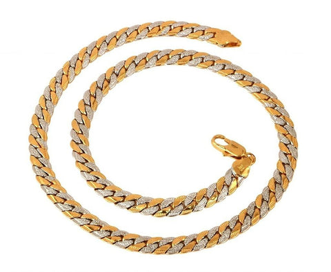 S Gold Rhodium Etched Curb Chain For Men Short 18""