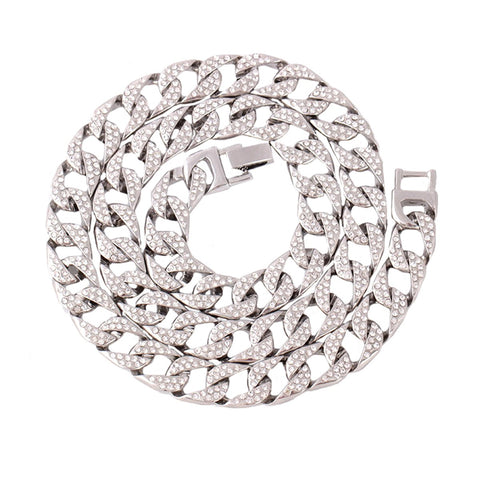 Thick Heavy Punk Chunky Curb Cuban Hip Hop Rhinestone Silver Chain Men