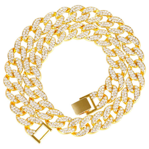 Thick Heavy Punk Chunky Curb Cuban Rhinestone Gold Chain Necklace Men