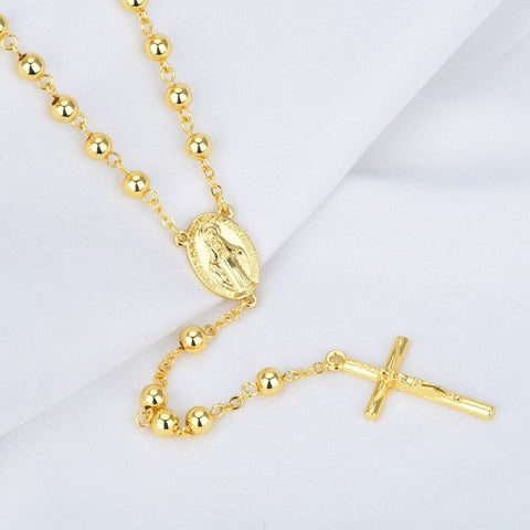 Jesus Cross Mary Christian Catholic Prayer Rosary Gold Necklace Chain