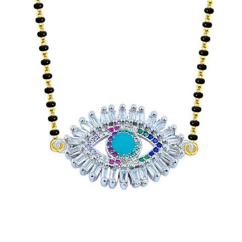 Turkish Evil Eye Good Luck CZ Adjustable Mangalsutra Chain Necklace