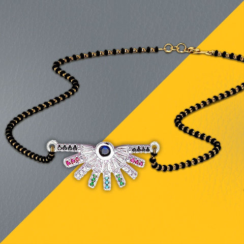 Stylish Delicate Rainbow Colourful Silver Mangalsutra Chain Necklace