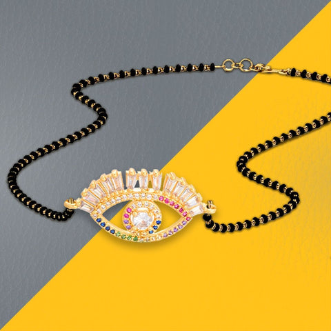 Turkish Evil Eye Good Luck Baguette CZ Mangalsutra Chain Necklace