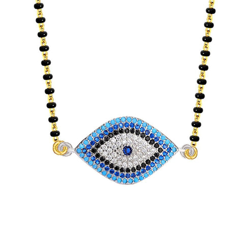 Turkish Blue Evil Eye Good Luck CZ Mangalsutra Chain Necklace