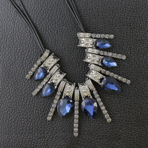 Delicate Oxidized Silver Faceted Blue Pear Crystal Cz Necklace