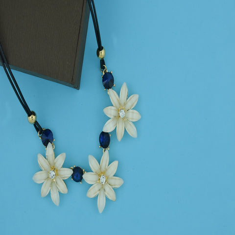 Crystal Party Delicate Flower Off White Blue Pendant Necklace Chain