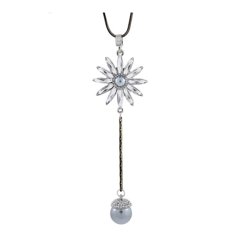 Flower Crystal Pearl Cz American Diamond Long Chain Necklace