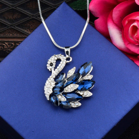 Swan Blue Crystal Pearl Cz American Diamond Long Chain Necklace