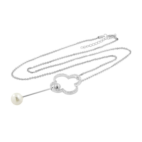 Curly Flower Pearl Cz American Diamond Long Chain Necklace