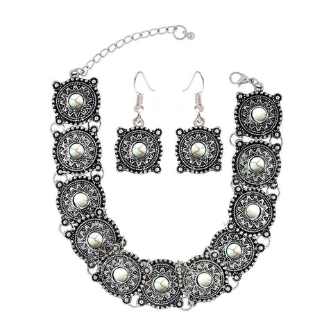Oxidised Afghani Bohemian German Silver Beads Choker Necklace Earring